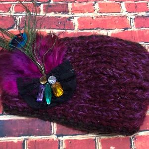 Charming Charlie purple feathered winter headband